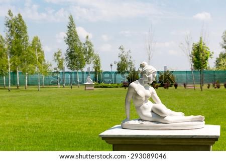 Marble female statue - stock photo