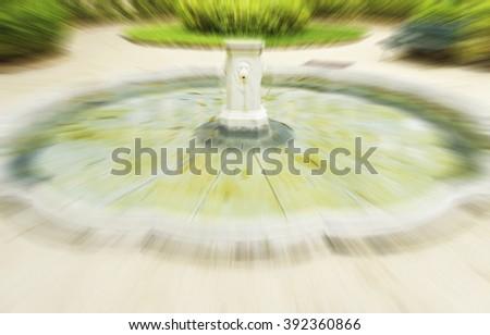 marble fountain - selective focus - stock photo
