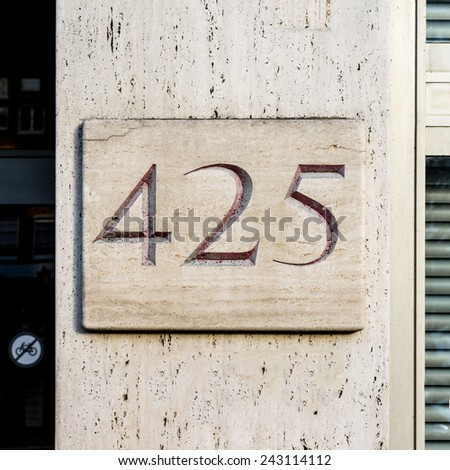 Marble house number four hundred and twenty five - stock photo