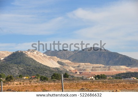 marble mountains with a big quarry of it in the field of Murcia-Alicante Spain