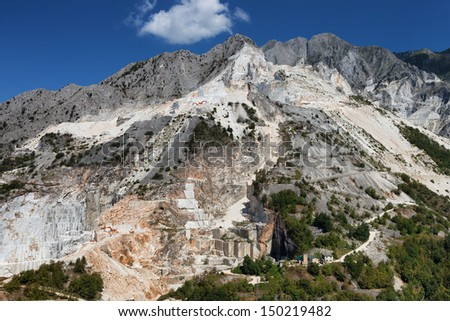 Marble Quarries on Apuan Alps , Carrara, Tuscany, Italy - stock photo