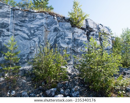 marble quarrying in the summer - stock photo