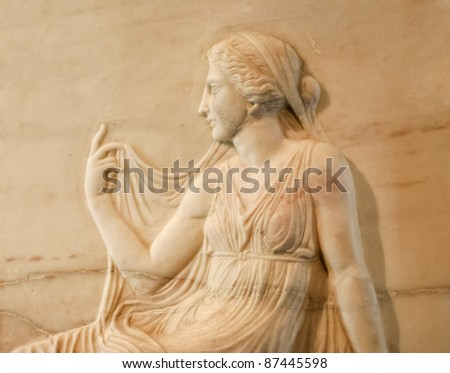 Marble relief of roman woman - Excavated at Herculaneum near Pompejii. Both cities near Naples in Italy were destroyed by the eruption of Vesuvius in 79AD. - stock photo