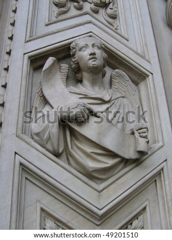 Marble sculpture of an angel - stock photo