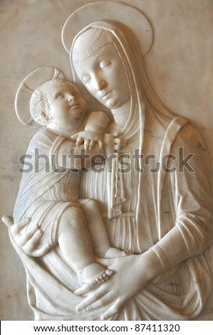 Marble sculpture of the virgin Mary with baby Jesus in Carrara marble by Pietro Lombardo