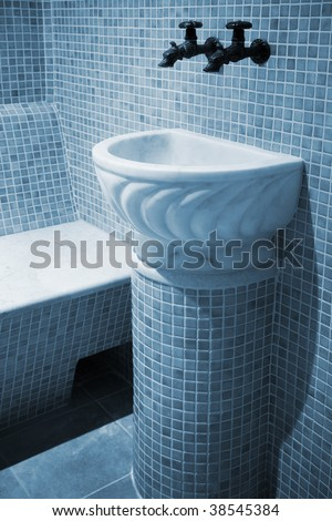 Marble sink in a beautiful old bath - stock photo
