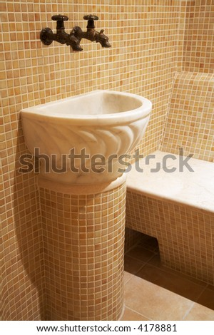 Marble sink in a beautiful turkish bath - stock photo