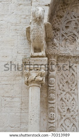 Marble statue. Cathedral. Bisceglie. Apulia. - stock photo