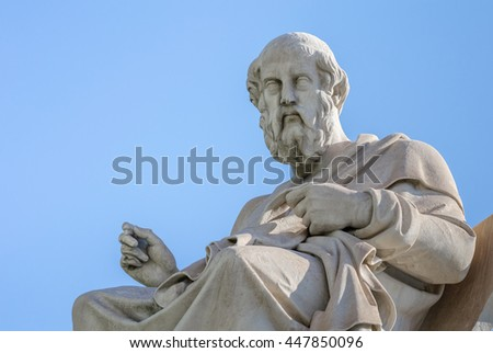 Marble Statue of the Great Ancient Greek Philosopher Plato on Sky Background  - stock photo