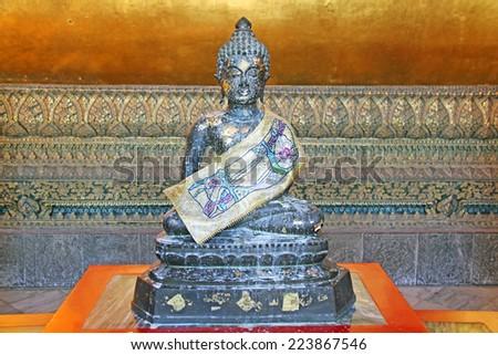 Marble stone Buddha statue - stock photo