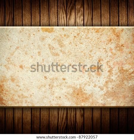 marble stone on wood background - stock photo