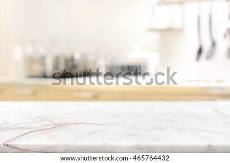 Marble Stone Table Top (kitchen Island) On Blur Kitchen Interior Background    Can Be