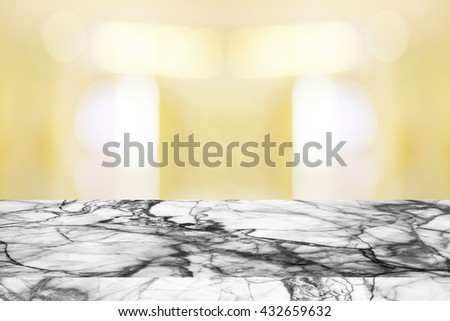 Marble table with blured background. - stock photo
