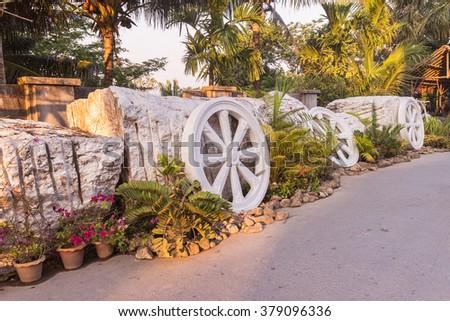 Marble Thammachak (Wheel of Dhamma) , symbol of Buddhism, at Phuket Big Buddha park, Thailand - stock photo