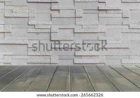 marble wall with wooden floor background - stock photo