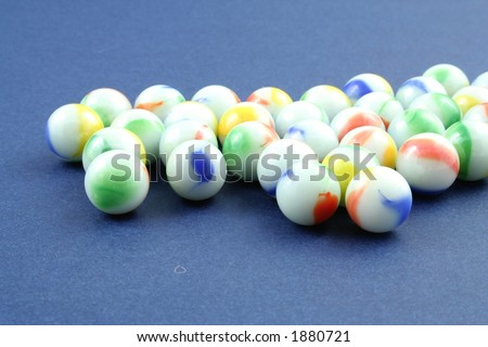 Marbles on a blue background