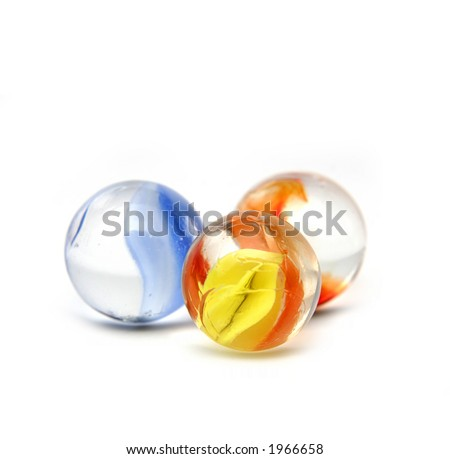 Marbles on a white background - stock photo