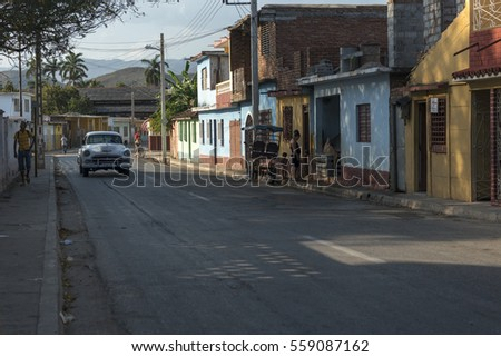 March 2015: A classic car in the old town of Trinidad, Cuba