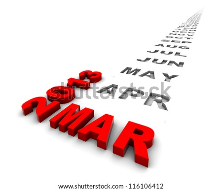 March 2013 and the months ahead. Part of a series. - stock photo