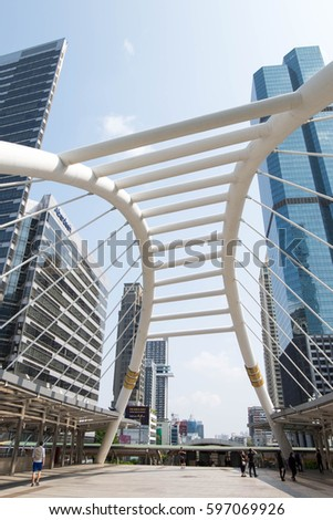 March 9, 2017 - Bangkok, Thailand: Symbol of Sathorn BRT station, Ivory bridge architecture at Sathorn Financial district, Downtown in Bangkok.