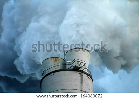 MARCH 2006 - BERLIN: chimney poluting the air at an industrial plant in the Lichtenberg district of Berlin.