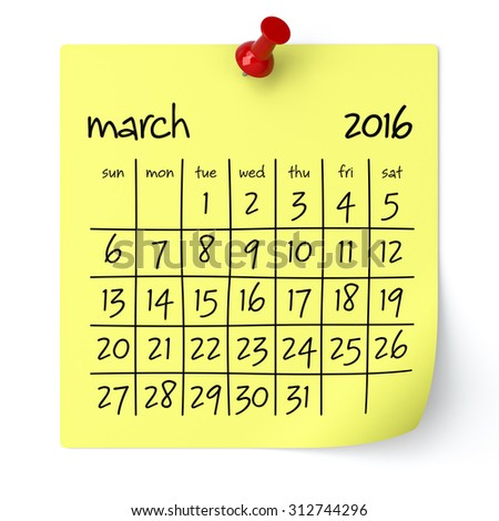 March 2016 - Calendar, Isolated on White, Background. 3D Rendering - stock photo