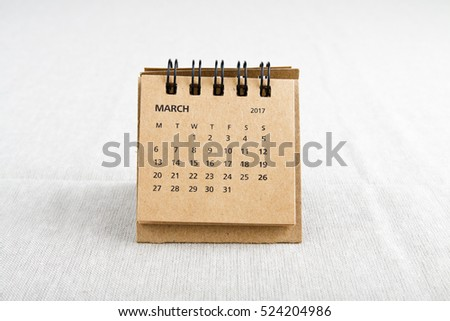March. Calendar sheet. Two thousand seventeen year calendar on bright background.