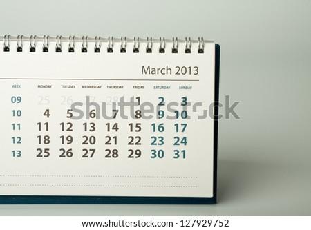 March. Calendar sheet. 2013 year calendar - stock photo