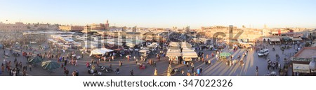 March 20 2015. Djemaa el Fna - square and market place in Marrakesh's medina quarter, Marrakesh, Morocco. - stock photo