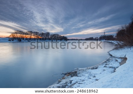 March evening landscape on the river. Russia, Moscow river near the city Kolomna