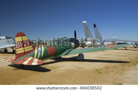 MARCH FIELD AIR MUSEUM, RIVERSIDE, CALIFORNIA, USA - March 17, 2016: replica of Aichi D-3 Val, USA - stock photo