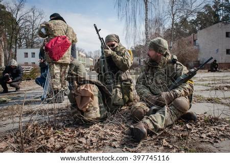 March 27, 2016. Kiev region, Ukraine. Military training of Kiev territorial defense battalion soldiers. - stock photo
