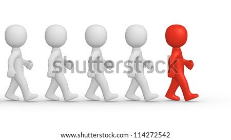 Marching 3d people with leader - stock photo