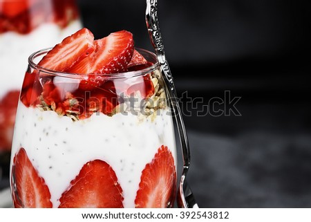 Marco of Chai seed parfait made with fresh strawberries. Selective focus with extreme shallow depth of field. - stock photo