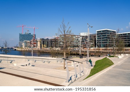Marco Polo Terraces in the HafenCity in Hamburg, Germany - stock photo