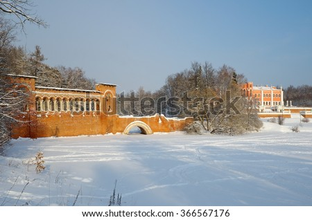 MARFINO, MOSCOW REGION, RUSSIA - JANUARY 23, 2016: Estate of Marfino in the winter