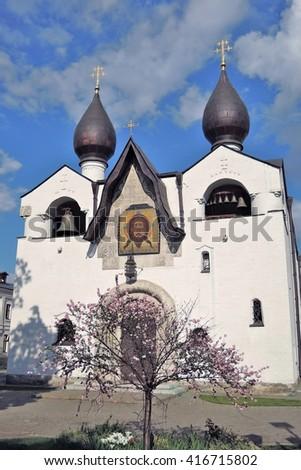 Marfo-Mariinsky Convent of Mercy in Moscow. Popular landmark. Color photo. - stock photo