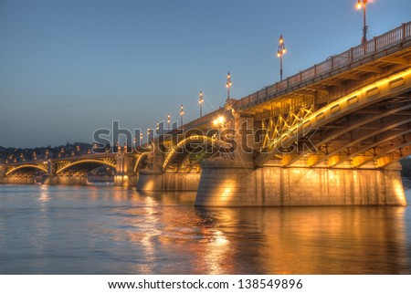 Margaret Bridge is the second oldest public bridge in Budapest, connecting Buda and Pest across the Danube. - stock photo