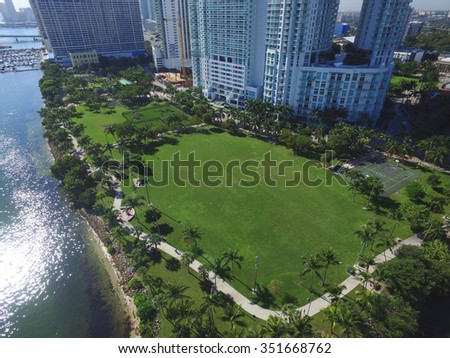 Margaret Pace Park aerial photo Miami - stock photo