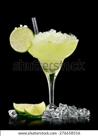 Margarita cocktail on black background - stock photo