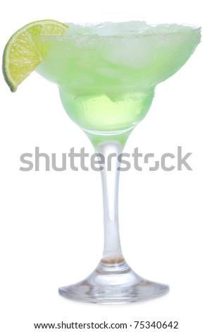 margarita cocktail on white background - stock photo
