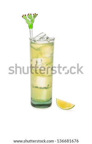 Margarita On Ice With Lime To The Side - stock photo