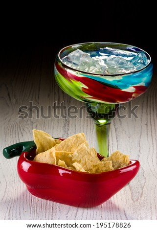Margarita on the Rocks with Tortilla Chips - stock photo