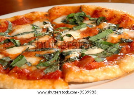 margarita pizza - stock photo