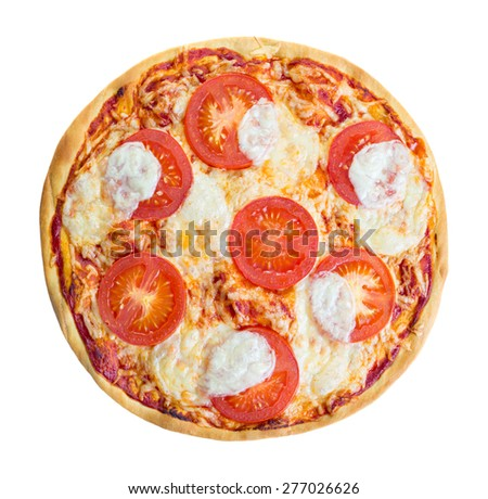 Margarita pizza isolated over white background, top view - stock photo