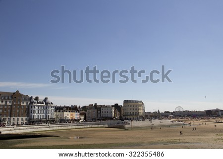 MARGATE, UK-August 8: Visitors on Margate beach in Britain. Margates main sands have been awarded a blue flag for high standards. August 8, 2015 Margate, Kent UK