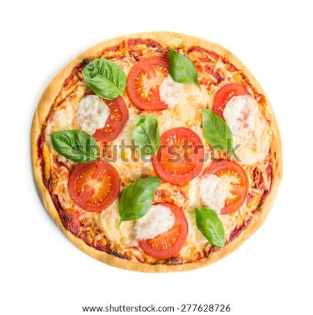 Margherita pizza isolated over white background - stock photo