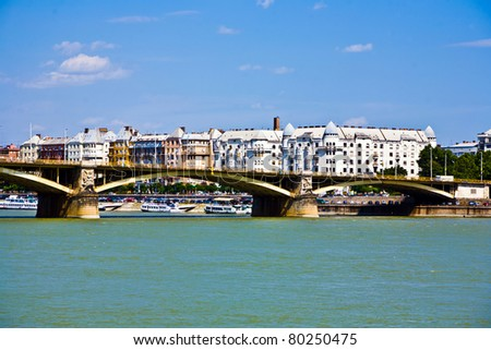 Margrit hid Bridge in Budapest on the Danube River. - stock photo
