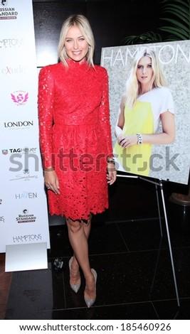 Maria Sharapova, in a Valentino dress, at HAMPTONS Magazine Celebrates Cover Star Maria Sharapova, Haven Rooftop at The Sanctuary Hotel, New York August 20, 2012 - stock photo