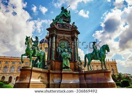 Maria Theresa Square.Monuments of the great Empress of Austria-Maria Theresa. Vienna, Austria. - stock photo
